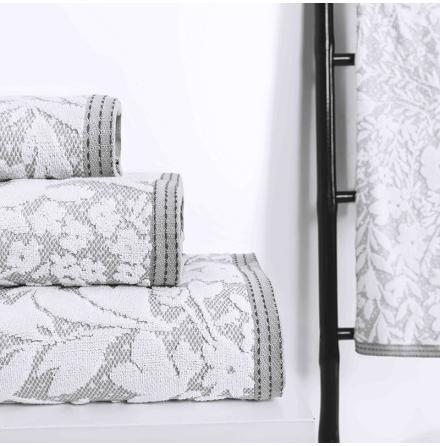 Matiss handduk - silver/vit