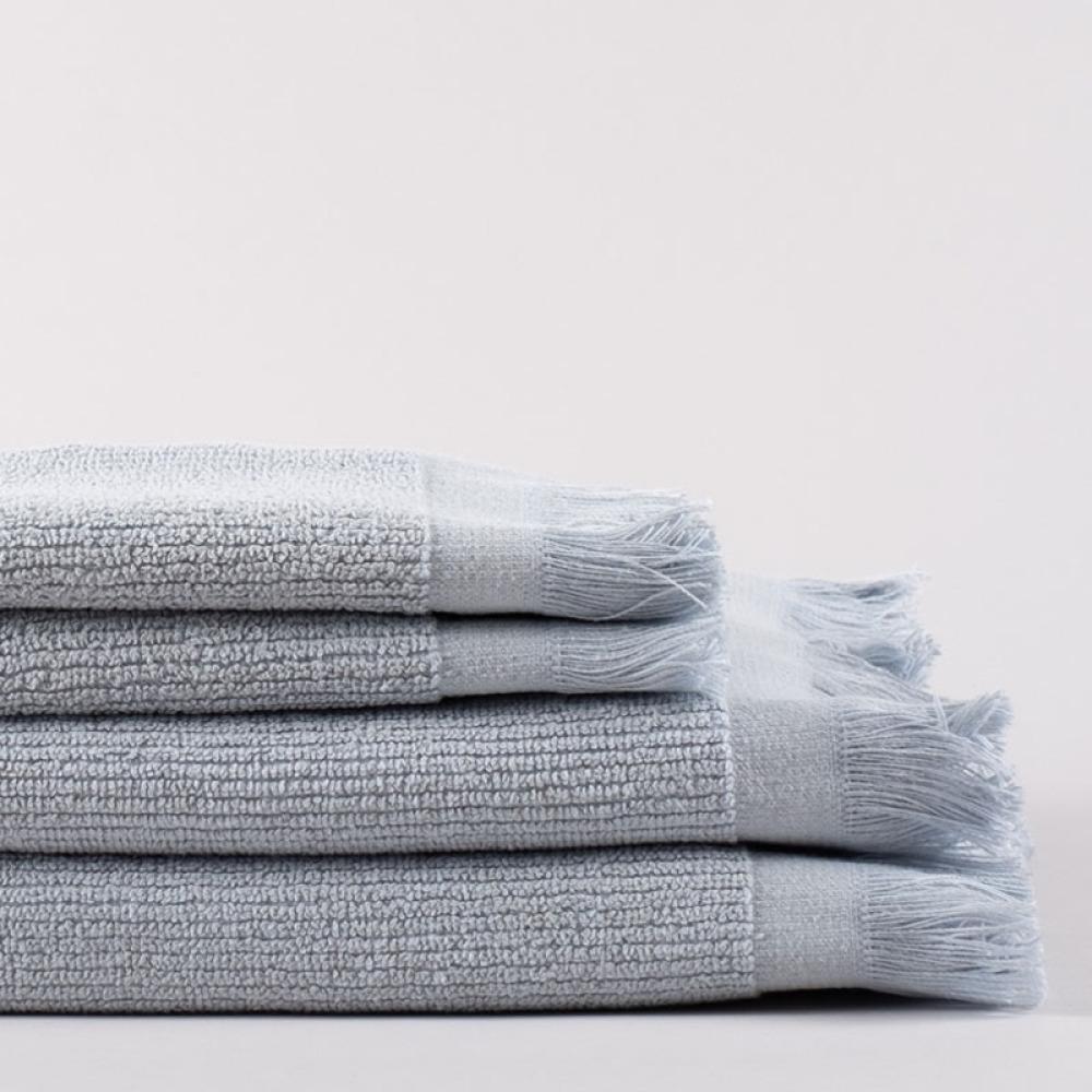 Linen Life handduk - ljusblå, randig