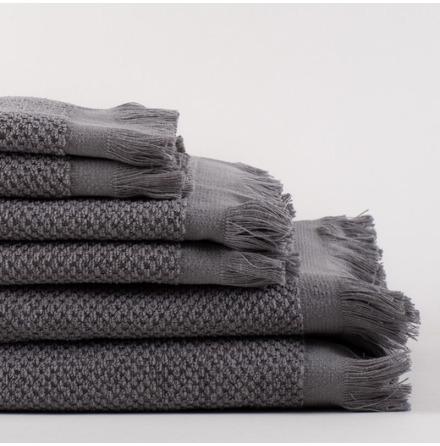 Linen Life handduk - grå, våffelmönstrad