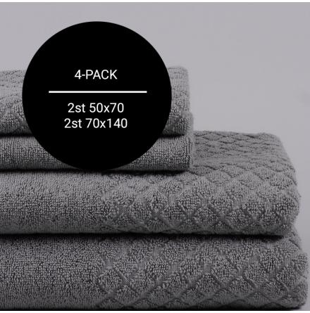 Modesty handdukspaket grå (2st 50x70 + 2st 70x140)
