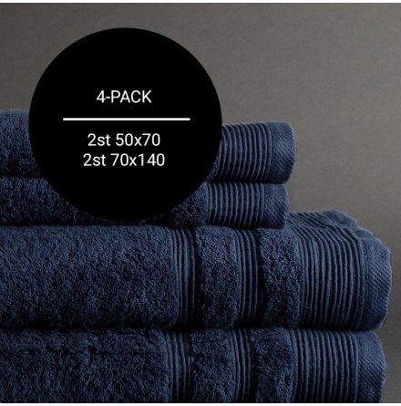 4-pack Ezra handduk marinblå - Exklusiv & ljuvlig