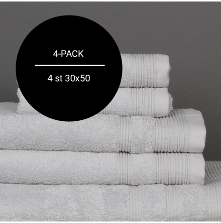 4-pack Ezra handduk silvergrå - 30x50